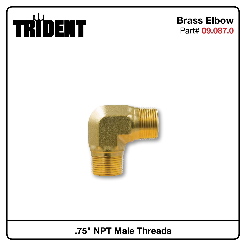 "Brass 90 Degree Elbow, .75""M NPT x .75""M NPT"