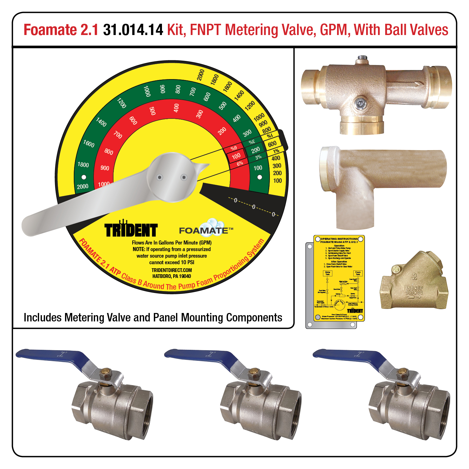 Foamate 2.1 ATP System, Metering Valve with FNPT Ends, GPM Flow Rates, w/ Ball Valves