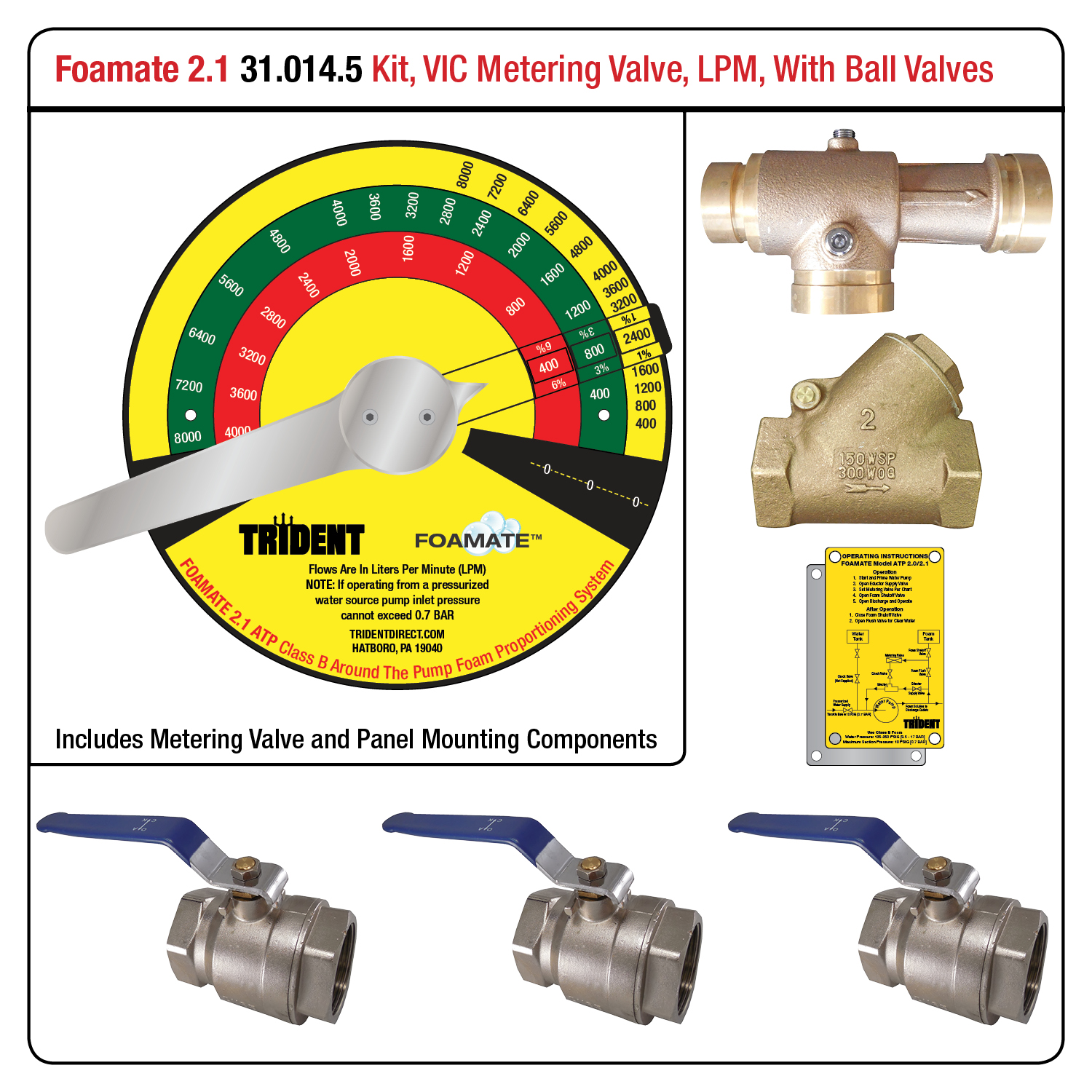 Foamate 2.1 ATP System, Metering Valve with VIC Ends, LPM Flow Rates, w/ Ball Valves