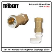 "Automatic Drain Valve, .75""F NPT with Nylon Elbow, .75""M NPT x Barbed"